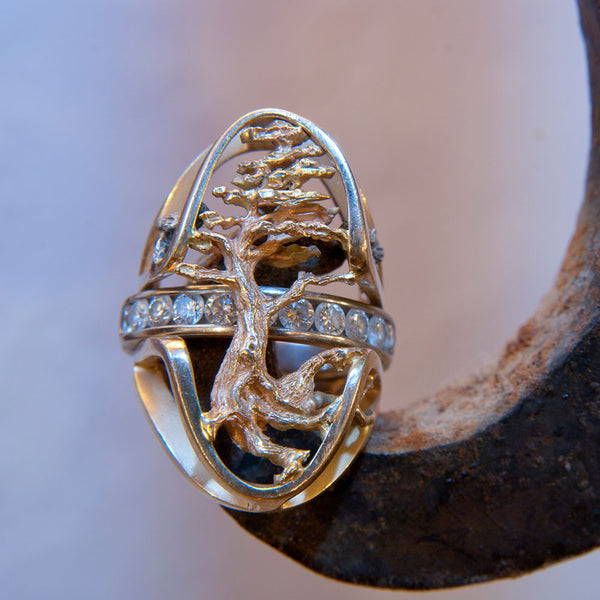 Custom, one of a kind ring in 14k with diamonds.  DIY!  Custom orders welcome.