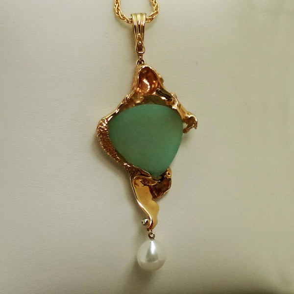 Custom Mermaid pendant, 14k drusy quartz Zircon Pearl, Handmade USA