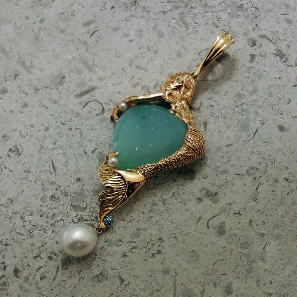 La Jolla mermaid in 14k gold with Drusy Quarts, Blue Zircon, Akoya Pearls handmade in USA.