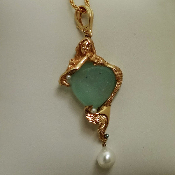 Mermaid necklace in 14k gold, blue zircon, pearl drusy quartz on enhancer bail, custom design USA