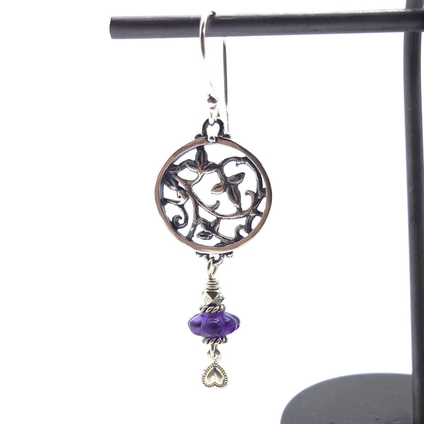 Lacey Leaf Earring with Amethyst Dangle - Handmade in Sterling Silver