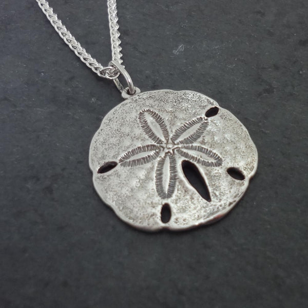 Sand Dollar Pendant, Large - Handmade in 14k Gold or Sterling Silver