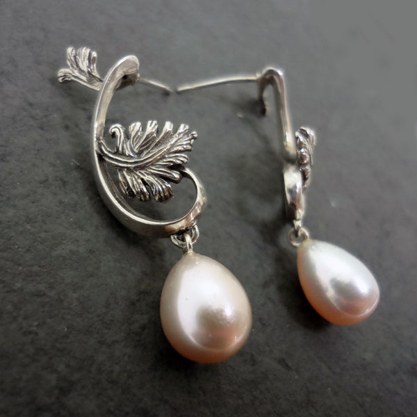 Leaves & Pearls Dangle Earrings handmade in Sterling or 14k Gold by Tosa Fine Jewelry