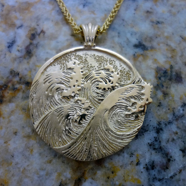 Tsunami Wave Pendant handmade in Sterling or 14k gold by Tosa Fine Jewelry