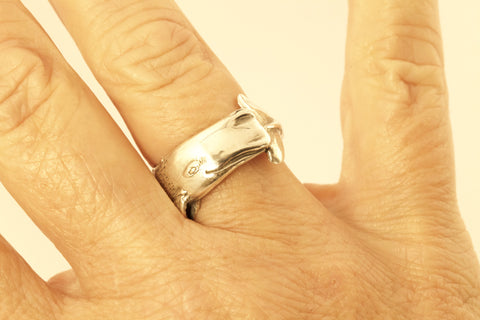Large Sperm Whale Ring - Hand Made in Sterling or Gold