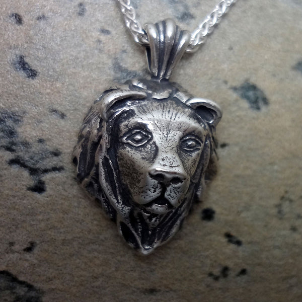 Lion Head Pendant handmade in Sterling or 14k Gold by Tosa Fine Jewelry