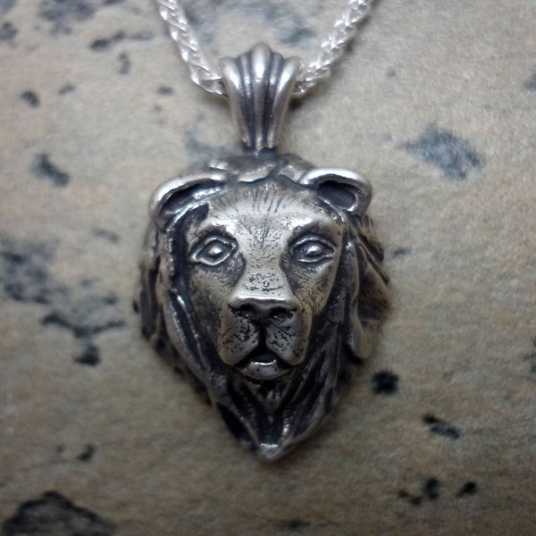 Lion Head Pendant handmade in Sterling or 14k Gold by All Animal Jewelry