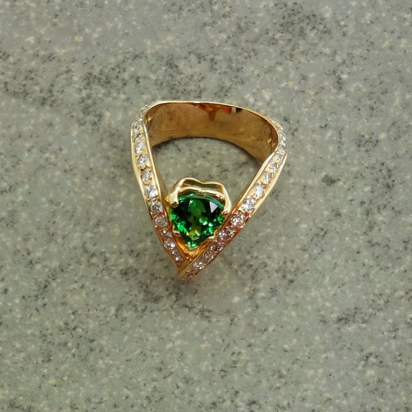 Garnet, Diamond Ring, Tsavorite, custom 14k Jan David handmade in USA