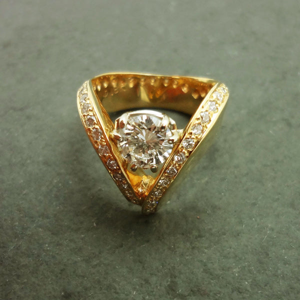 Diamond 18k ring custom design V shape design all around diamonds Handmade USA