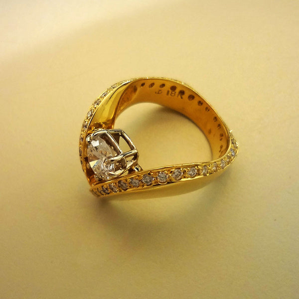 Fine Jewelry Diamond Ring 18k gold Custom Jan David Design V shape made USA