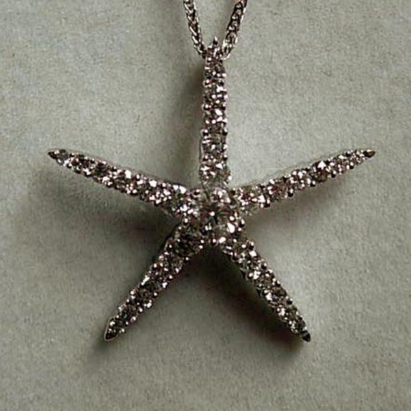 Diamond Starfish Pendant - Handmade in 18k Gold