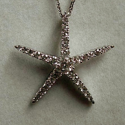 White Gold Diamond Starfish Pendant handmade by Tosa Fine Jewelry