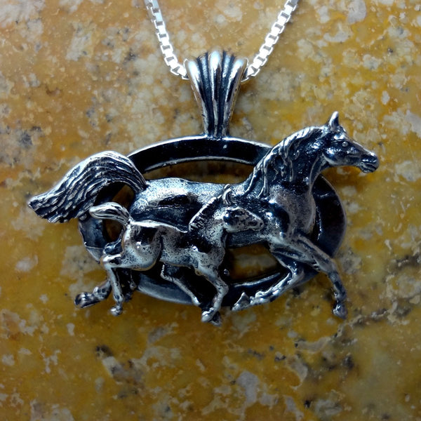 Mare & Foal Horse Pendant handmade in Sterling or 14k gold by All Animal Jewelry