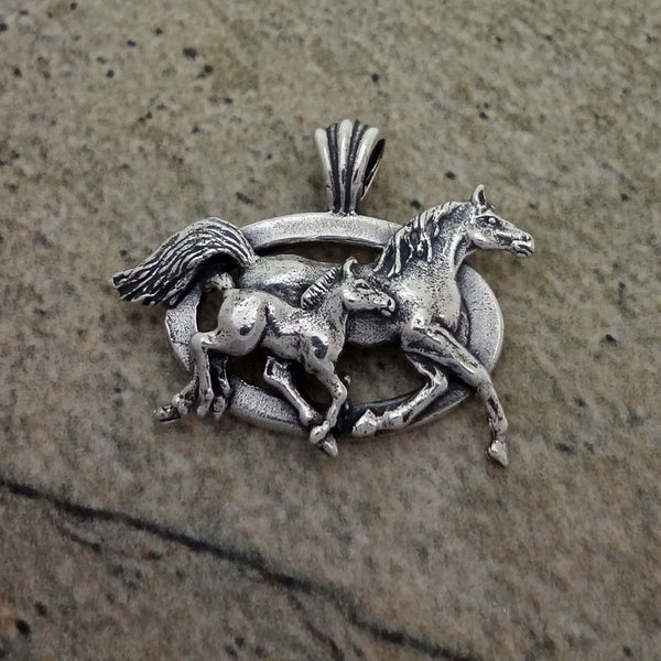Mare and Foal Horse Pendant - Sterling Silver or 14k Gold