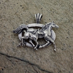 Mare and Foal Pendant in sterling silver by All Animal Jewelry
