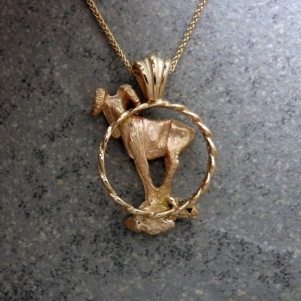 Big Horn Sheep Pendant handmade in Sterling or 14k Gold by All Animal  Jewelry
