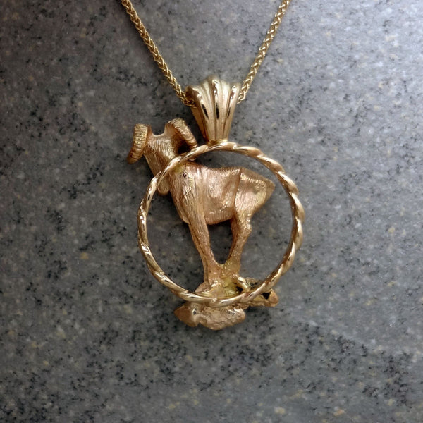 Big Horn Sheep Circle Pendant handmade in Sterling or 14k Gold by Tosa Fine Jewelry