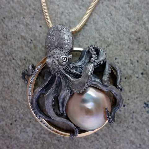 Pearl and Diamond Octopus Circle Pendant Sterling and 14k Gold handmade by Tosa Fine Jewelry