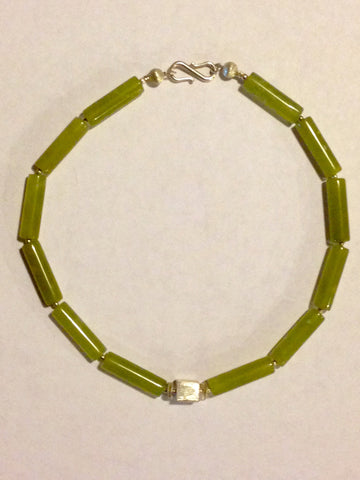 Beautiful Nephrite Alaskan Jade and Sterling Bead Strand
