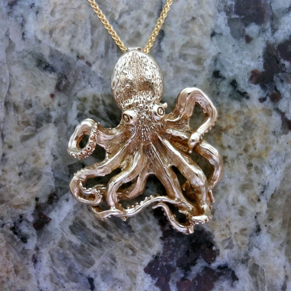 Octopus Pendant, Large, handmade in Sterling or 14k Gold by Tosa Fine Jewelry