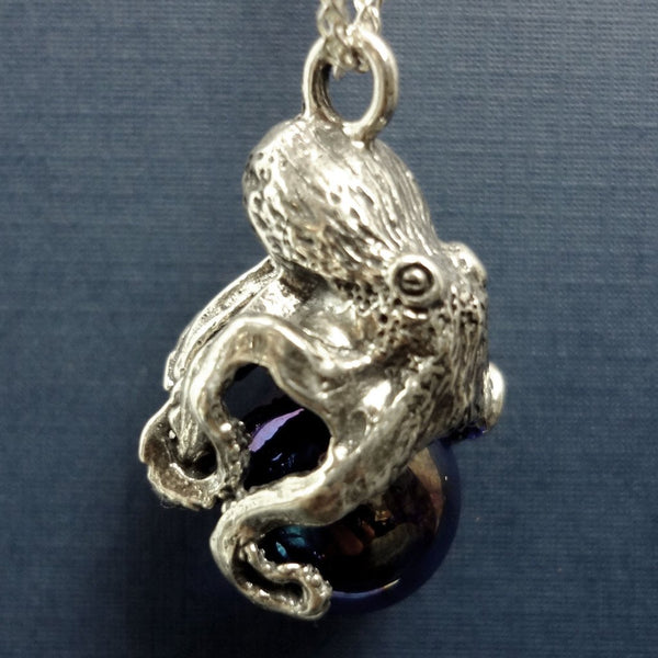 Octopus Pawjama Pendant handmade in Sterling or 14k Gold by All Animal Jewelry