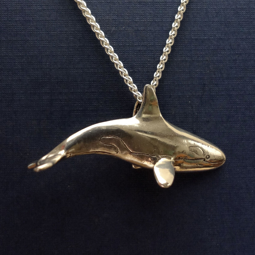 Orca killer whale pendant charm silver 14k gold oceanjewelry orca killer whale pendant large handmade in sterling or 14k gold by tosa aloadofball Choice Image