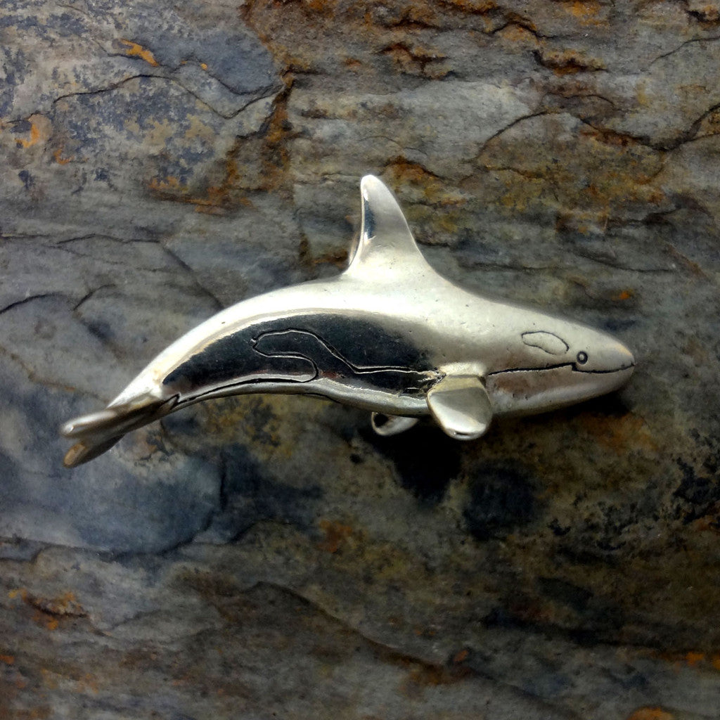 Orca killer whale pendant charm silver 14k gold oceanjewelry orca the killer whale pendant handmade in 14k gold or sterling silver aloadofball Choice Image