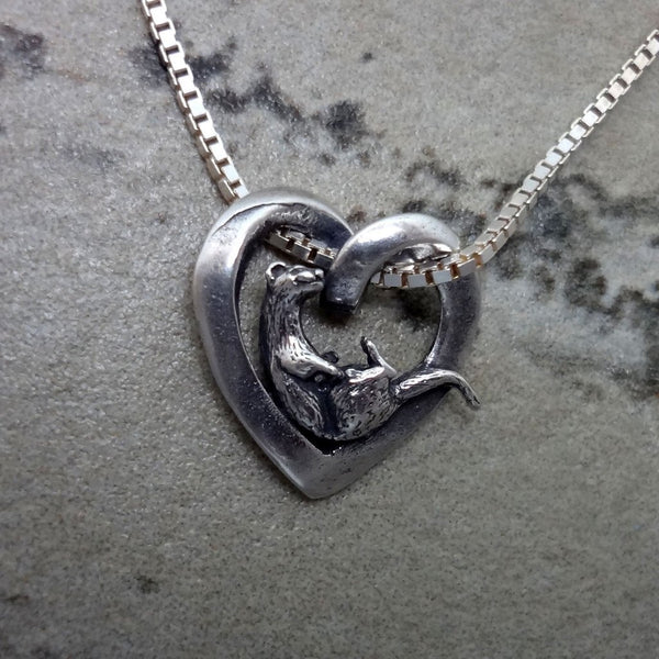 Otter & Heart Pendant handmade in Sterling or 14k Gold by All Animal Jewelry