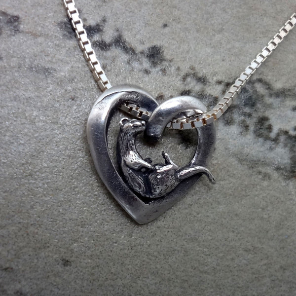 Otter & Heart Pendant handmade in Sterling or 14k Gold by Tosa Fine Jewelry