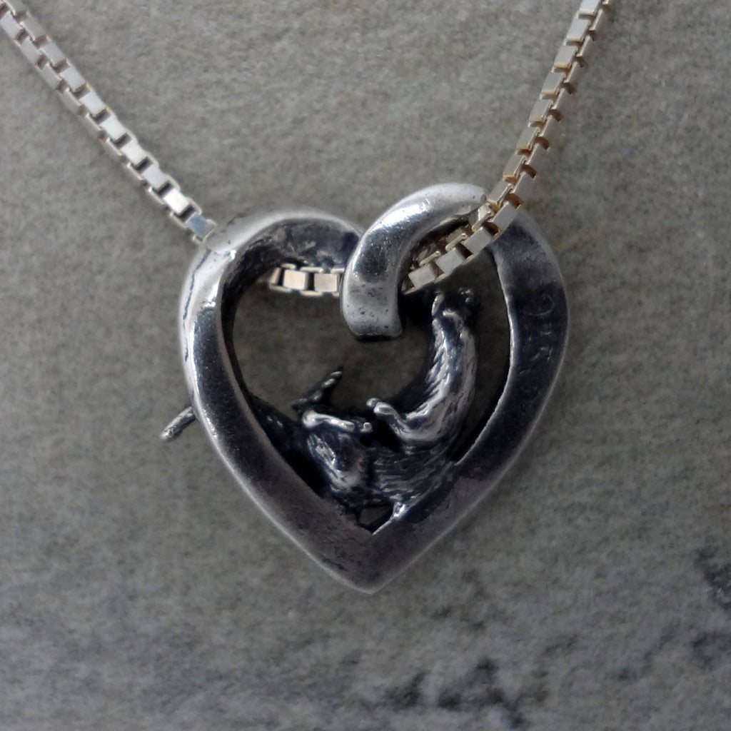 Otter heart pendant charm silver 14k gold jewelry handmade usa ocean otter heart pendant handmade in sterling or 14k gold by tosa fine jewelry aloadofball Image collections
