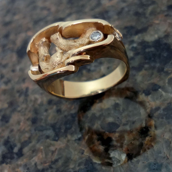 Otter Ring, Large, handmade in Sterling or 14k Gold by Tosa Fine Jewelry