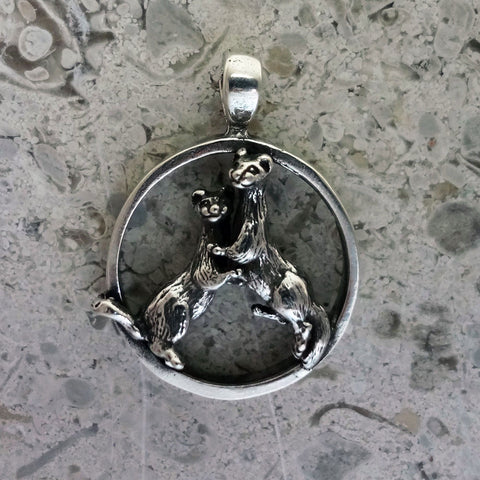 Otter Friends Circle Pendant handmade in Sterling or 14k Gold by Tosa Fine Jewelry