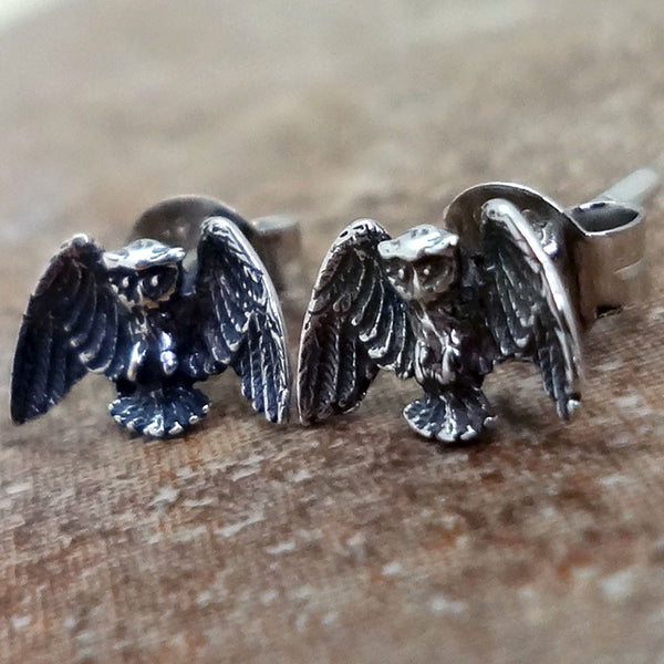 Owl Earrings handmade in Sterling or 14k Gold by Tosa Fine Jewelry