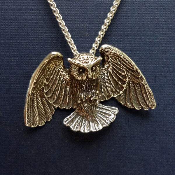 Large Great Horned Owl Pendant - Handmade in 14k Gold or Sterling Silver