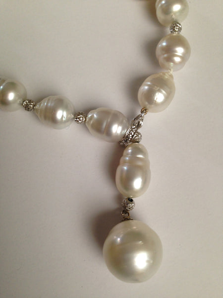 South Sea and baroque Akoya pearls with 18k white gold strand