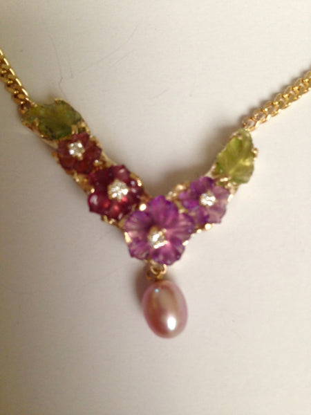 Handmade one-of-a-kind necklace, 14k and hand carved gemstone flowers