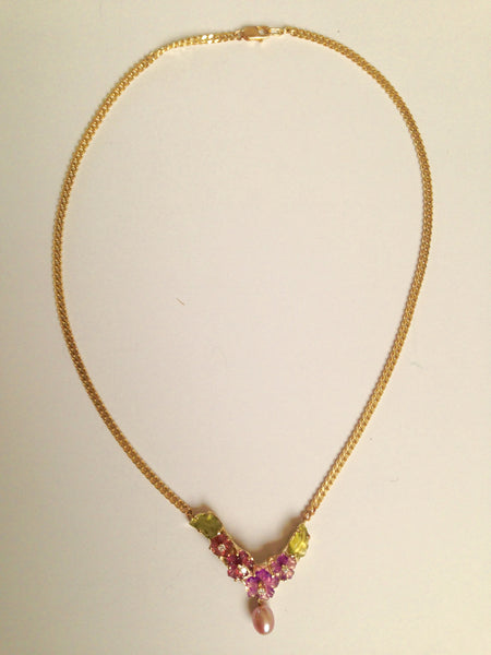 Custom Handmade Floral Gemstone Necklace