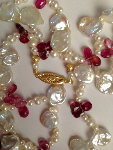 Beautiful cultured freshwater petal pearls and pink tourmaline necklace