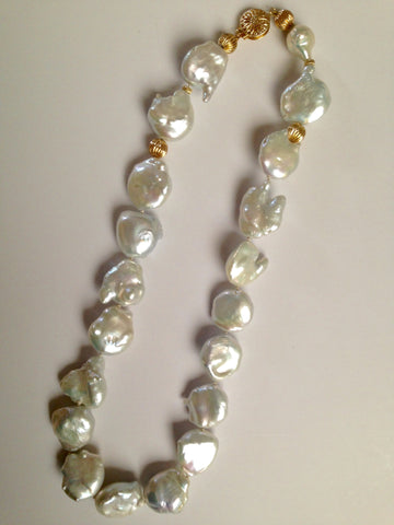 Beautiful big cultured pearl strand with large 14k clasp