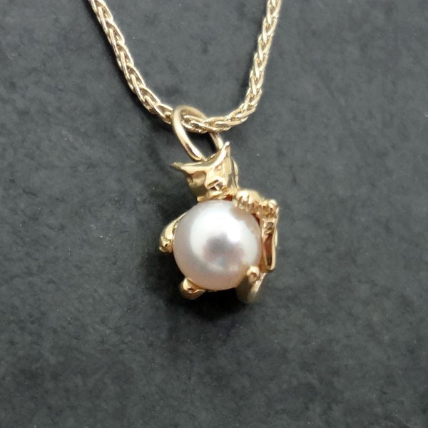 Pearl Cat Pendant handmade in Sterling or 14k gold by All Animal Jewelry