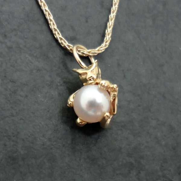 Pearl Cat Pendant - Handmade in 14k Gold or 14k White Gold or Sterling Silver