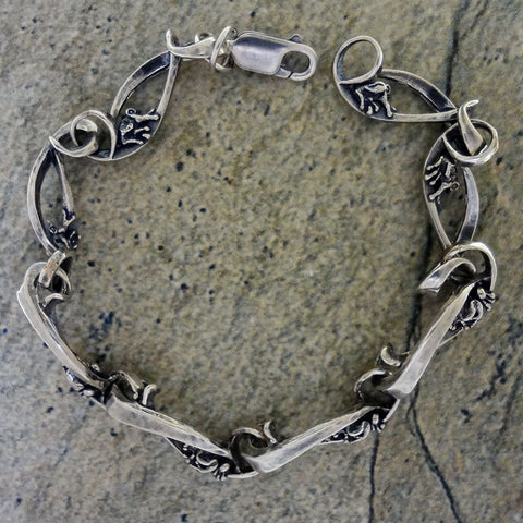 "Frog ""Little Peeper"" Bracelet handmade in Sterling or 14k Gold by Tosa Fine Jewelry"