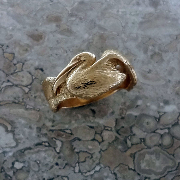 Pelican Ring handmade in Sterling or 14k Gold by Tosa Fine Jewelry