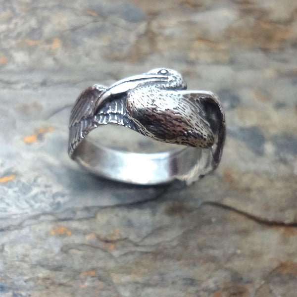 Pelican Ring handmade in Sterling or 14k Gold by All Animal Jewelry