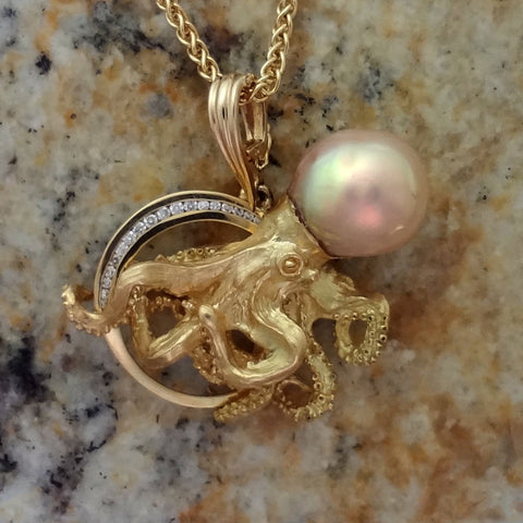 Poseidon Octopus Pendant in 18kt gold with golden freshwater pearl and diamonds handmade by Tosa Fine Jewelry