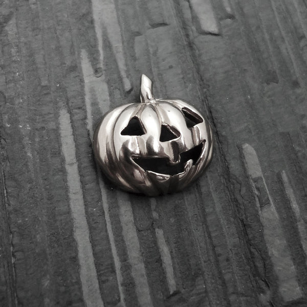 Halloween Jack-O-Lantern Pumpkin Pendant handmade in Sterling or 14k gold by Tosa Fine Jewelry