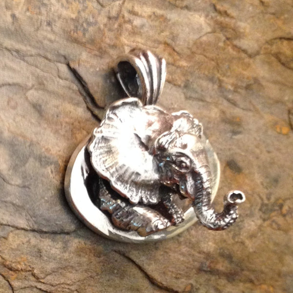 Sterling Silver or 14k Gold handmade African Elephant Pendant by All Animal Jewelry