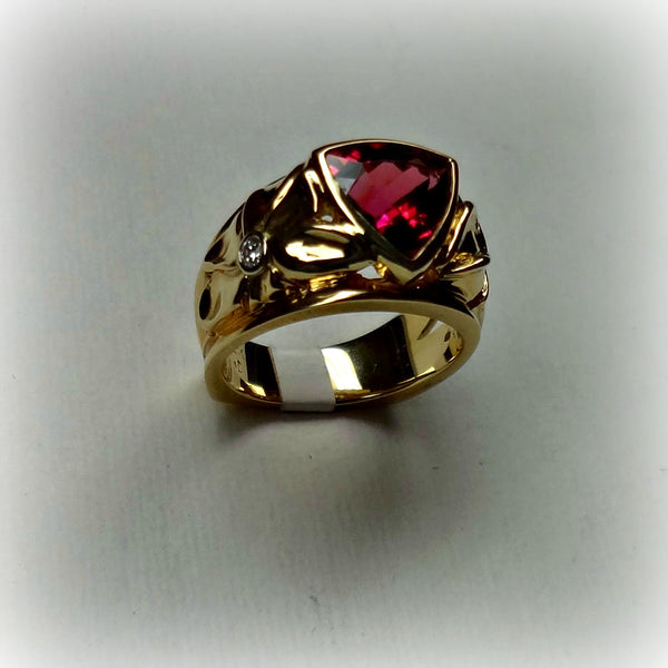 SOLD - Floral Ring set with a Trillion Cut Pink Tourmaline - Handmade in 14k Gold