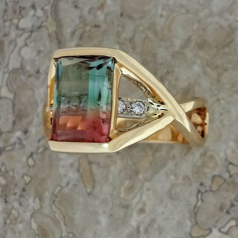 Tourmaline, Diamond, 14k gold ring. Handmade Jewelry by Jan David.  USA