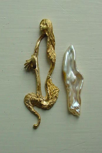 Stages of Rapunzel Custom brooch 18k 14k Gold, Diamonds, Biwa Pearl Handmade USA.